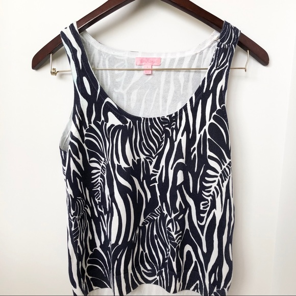 Lilly Pulitzer Tops - Lilly Pulitzer Zebra Print Knit Tank Top • Sz L